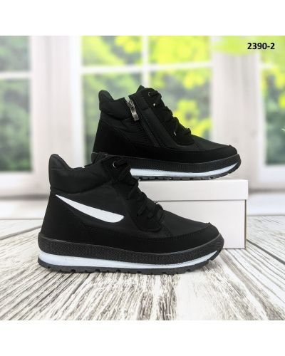 Высокие кроссовки с мехом - черные Bromen