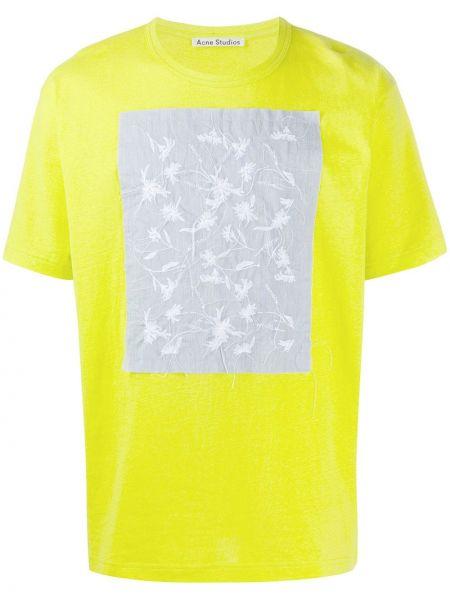 Koszula krótkie z krótkim rękawem prosto z haftem Acne Studios