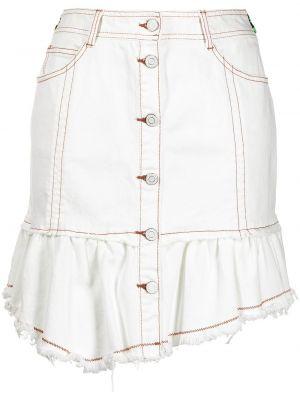 Хлопковая белая юбка мини с карманами Sjyp