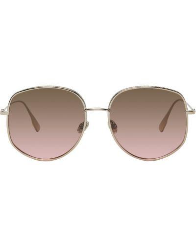 Кожаные розовые солнцезащитные очки круглые Dior