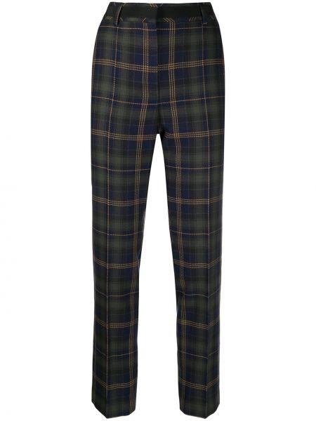 Синие облегающие акриловые прямые укороченные брюки Mulberry