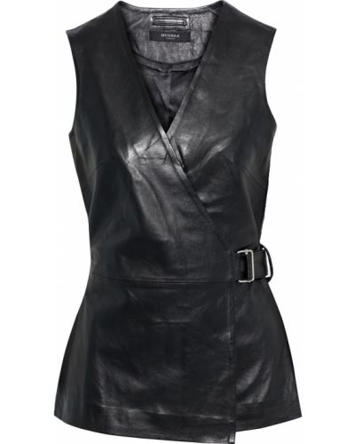 Черный кожаный топ Muubaa