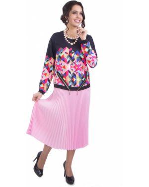 Плиссированная юбка на резинке розовая Wisell