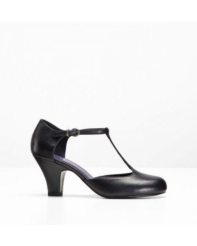 Кожаные туфли лодочки на каблуке Bonprix