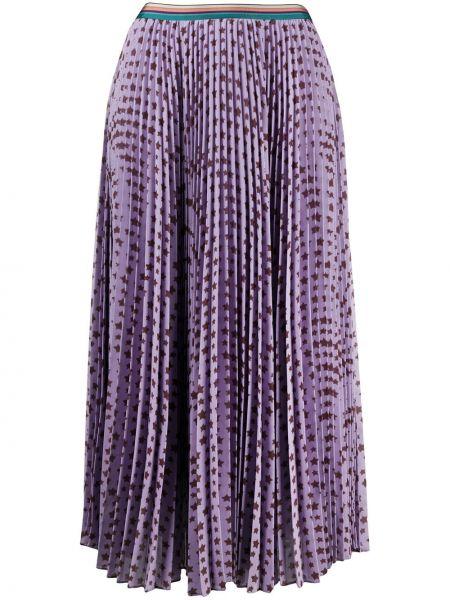 Фиолетовая расклешенная юбка миди с поясом Paul Smith