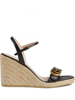Sandały skórzane na obcasie - czarne Gucci