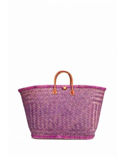 Фиолетовая соломенная сумка с баской Le Comptoir De La Plage