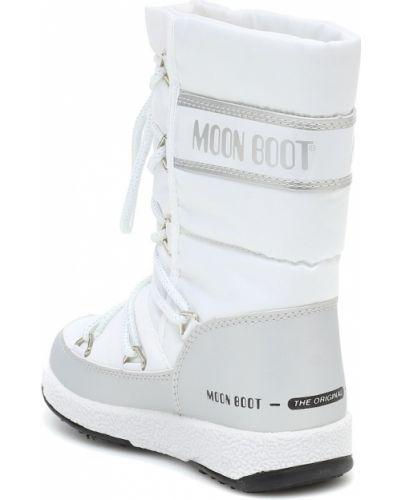 Białe kozaki skorzane pikowane Moon Boot Kids
