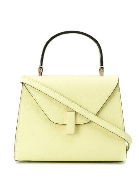 Кожаная золотистая желтая маленькая сумка Valextra