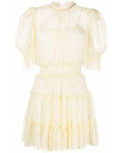 Желтое кружевное платье мини в горошек Alice Mccall