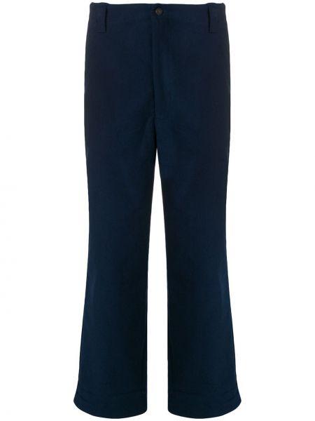 Bawełna spodni niebieski spodnie o prostym kroju z kieszeniami Acne Studios