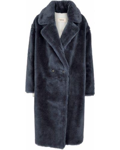 Синее прямое пальто Yves Salomon