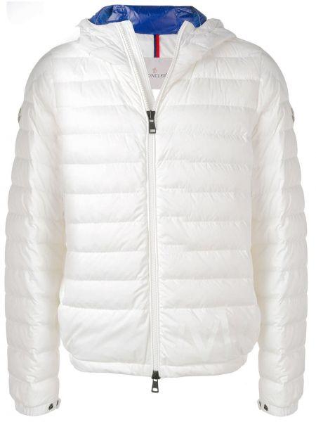 Puchaty prosto klasyczny biały pikowana kurtka Moncler
