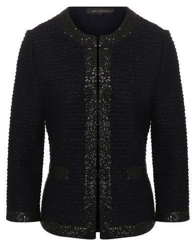 Шерстяной приталенный черный пиджак St. John