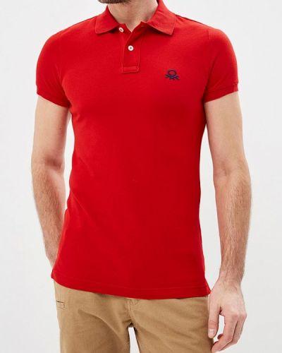 Красное поло с коротким рукавом United Colors Of Benetton