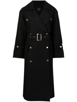Пальто с поясом - черное Armani Exchange