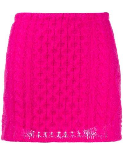 Шерстяная розовая с завышенной талией юбка мини Laneus