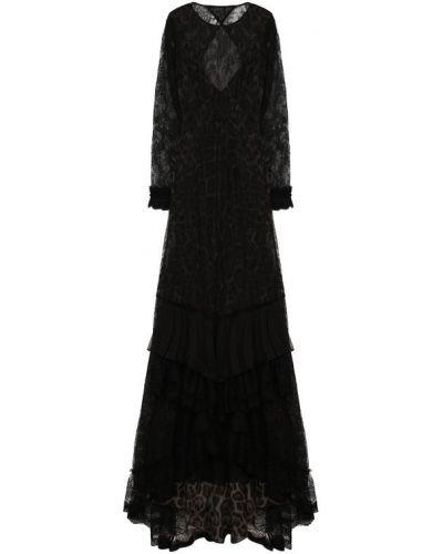 Платье макси с цветочным принтом с открытой спиной Roberto Cavalli