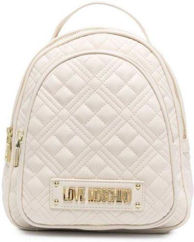 Бежевая стеганая сумка на плечо из натуральной кожи Love Moschino