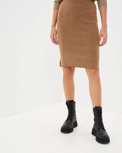 Коричневая прямая юбка карандаш Rodier