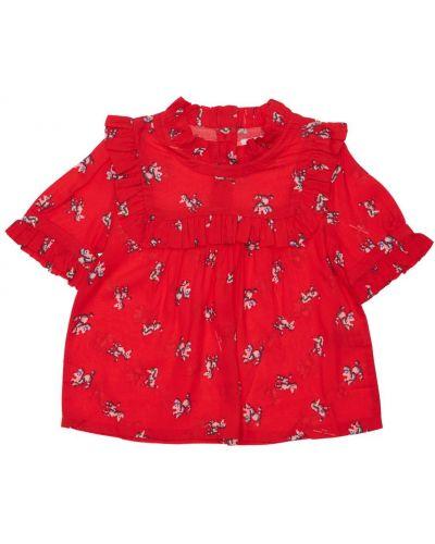 Хлопковая красная футболка на пуговицах Little Marc Jacobs