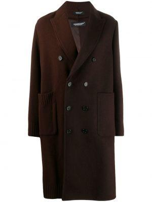 Шерстяное длинное пальто с капюшоном двубортное Undercover