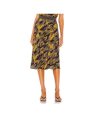 Зеленая сатиновая юбка с поясом Atm Anthony Thomas Melillo