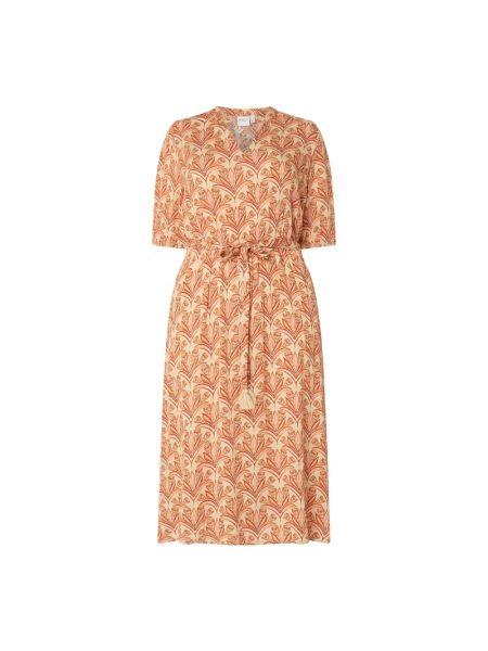 Beżowa sukienka rozkloszowana z wiskozy Junarose