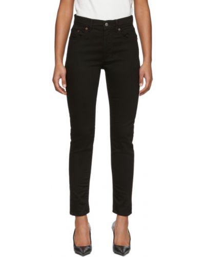 Skórzany różowy jeansy z łatami z kieszeniami Acne Studios