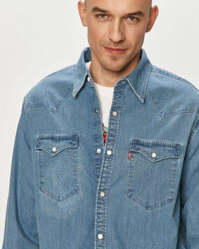 Niebieska koszula jeansowa bawełniana z długimi rękawami Levi's