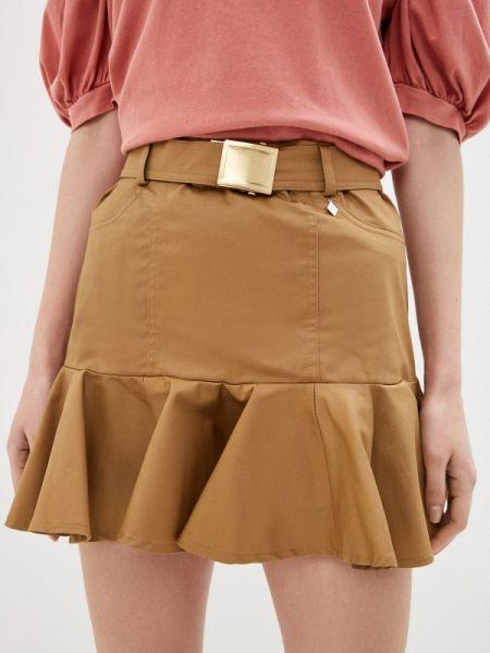 Бежевая юбка карандаш с рукавом 3/4 Miss Miss By Valentina