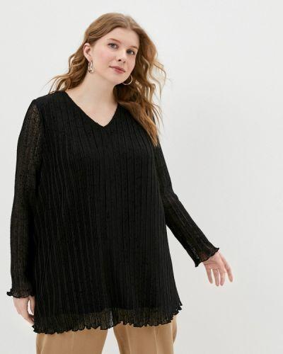 Черная с рукавами блузка Ulla Popken