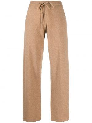 С кулиской коричневые спортивные брюки с вышивкой из верблюжьей шерсти Chinti & Parker