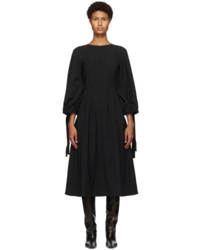Czarny długo sukienka z kołnierzem z wiskozy z mankietami Edit