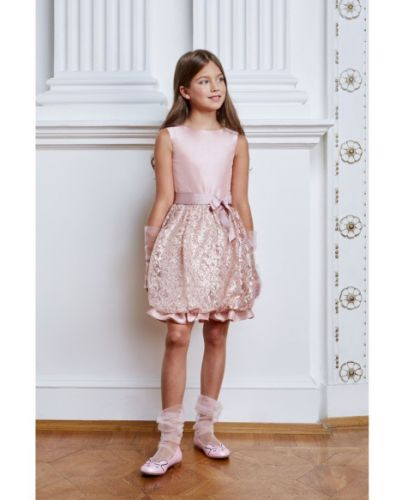 Платье с рукавами с пайетками гипюровое смена