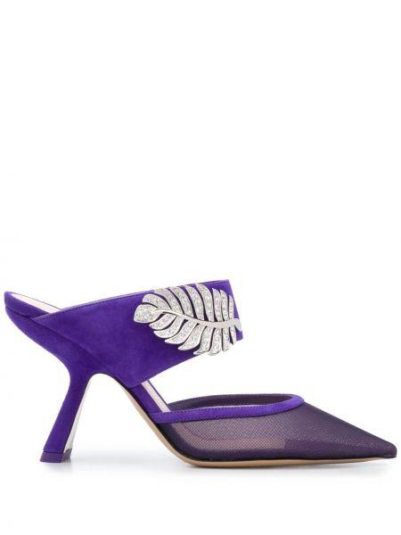 Фиолетовые кожаные мюли на каблуке без застежки Nicholas Kirkwood
