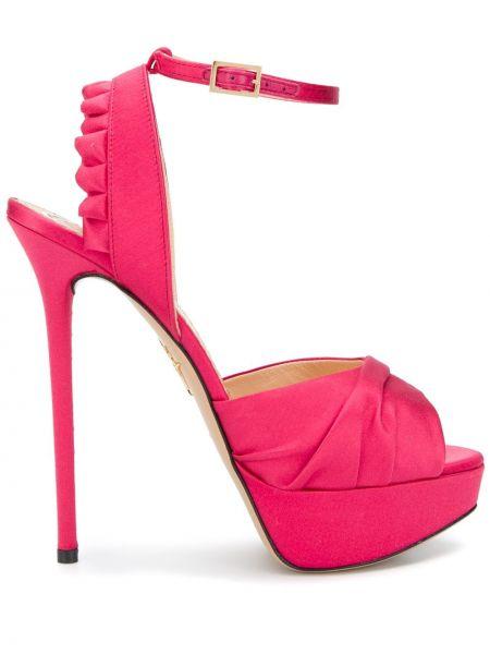 Satynowe różowe sandały na platformie Charlotte Olympia