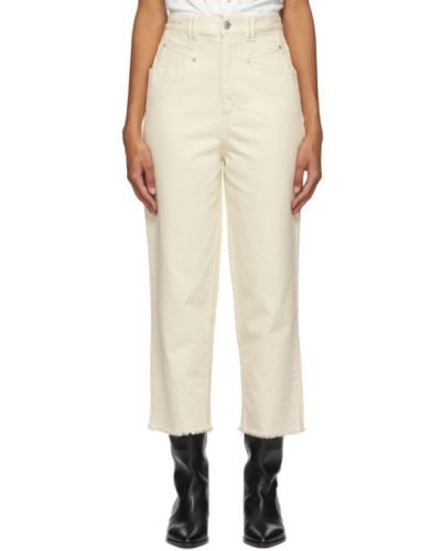 Biały jeansy na wysokości z kieszeniami z mankietami wytłoczony Isabel Marant