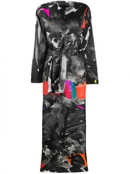 С рукавами с кулиской черное платье с вырезом Daniela Gregis