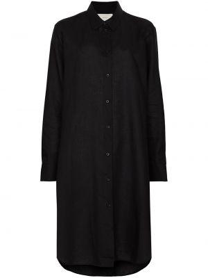 Czarna sukienka długa z długimi rękawami zapinane na guziki Asceno