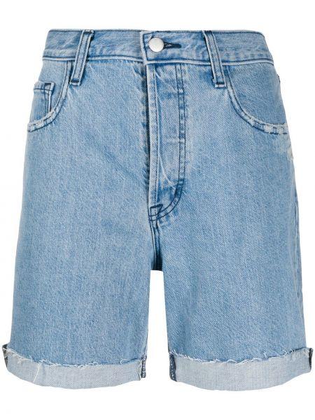 Хлопковые синие классические джинсовые шорты на молнии J Brand