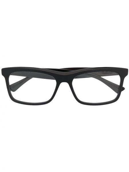 Черные очки прямоугольные металлические прозрачные Bottega Veneta Eyewear