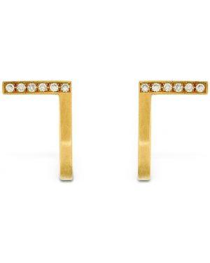 Żółte złote kolczyki sztyfty z diamentem Hsu Jewellery London