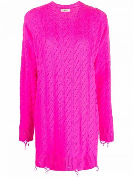 Платье макси с длинными рукавами - розовое Laneus