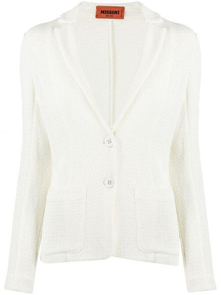 Приталенный белый пиджак с накладными карманами Missoni