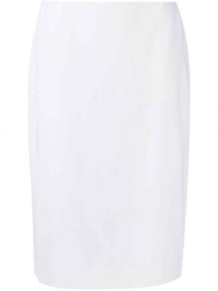 Шерстяная с завышенной талией белая юбка карандаш Ralph Lauren Collection