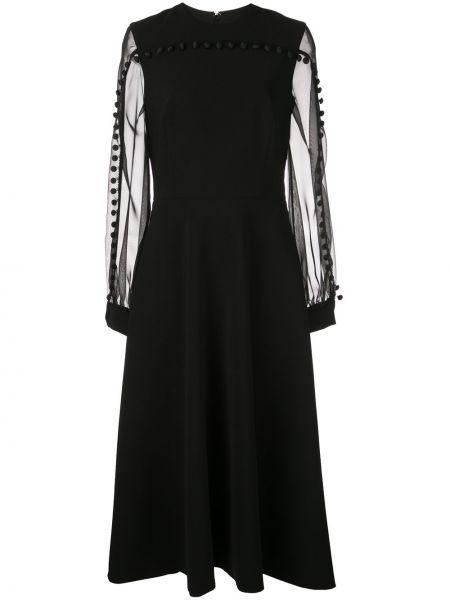 Czarna sukienka midi rozkloszowana z frędzlami Christian Siriano