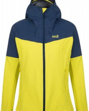 Желтая куртка с капюшоном на молнии свободного кроя туристическая Jack Wolfskin
