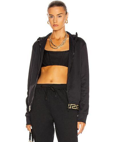 Домашняя ватная черная длинная куртка Versace