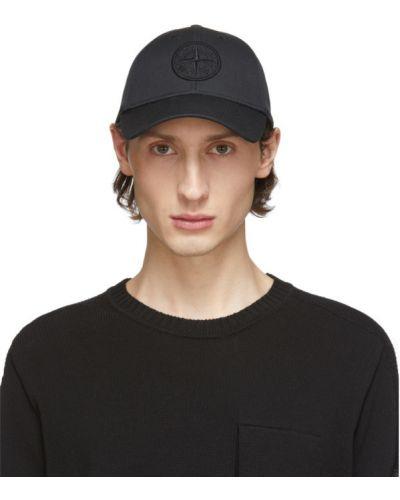 Bawełna czarny czapka z daszkiem z haftem z płótna Stone Island